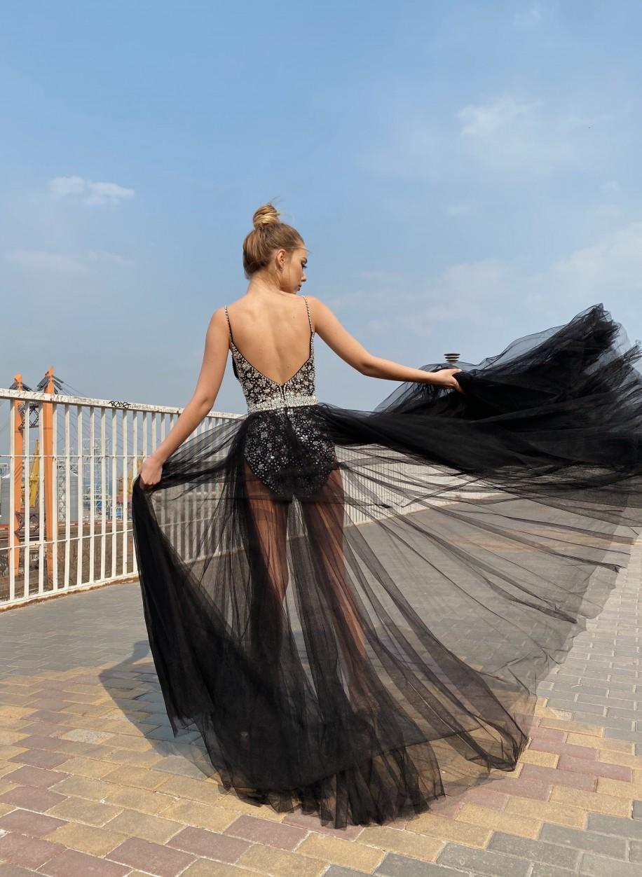 Чёрное вечернее платье Jovani с открытой спиной 65381