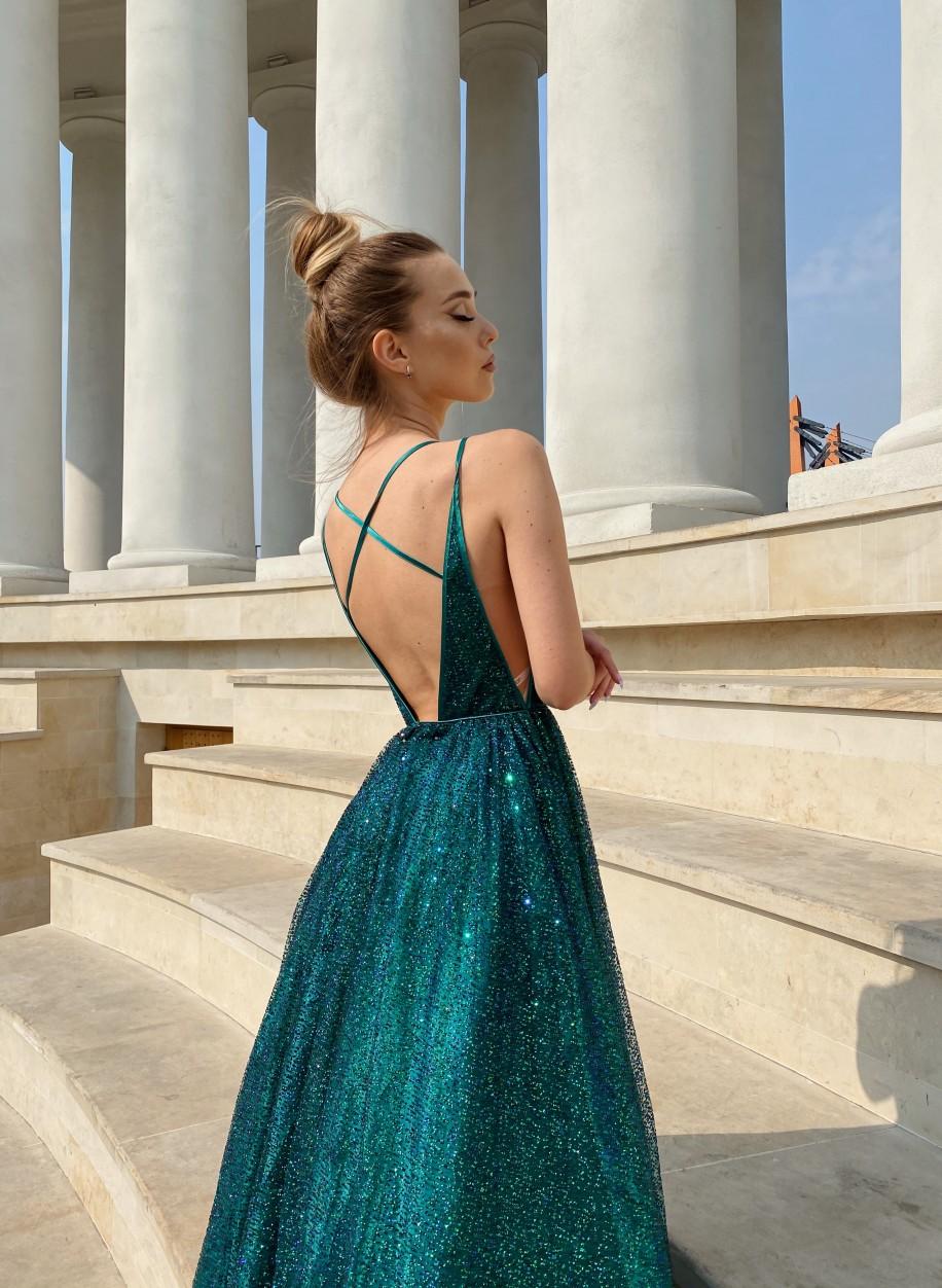 Блестящее изумрудное платье Jovani с открытой спиной 4198
