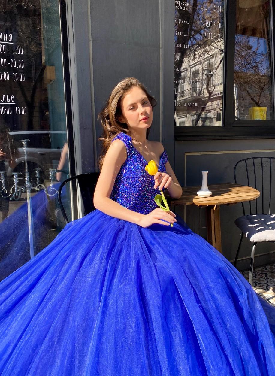 Синее вечернее платье Sherri Hill с пышным низом 51447