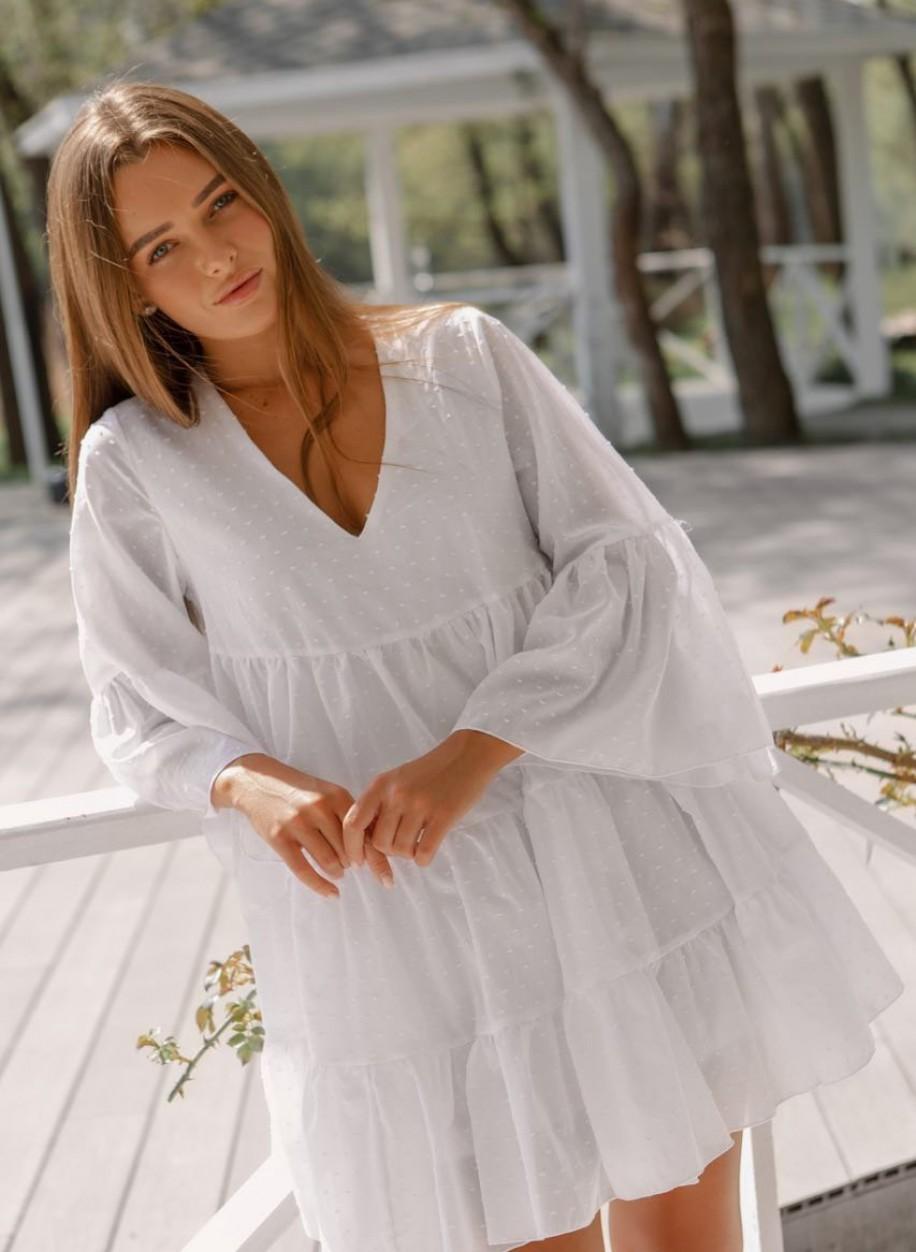 Белое платье с объёмными рукавами Ливия
