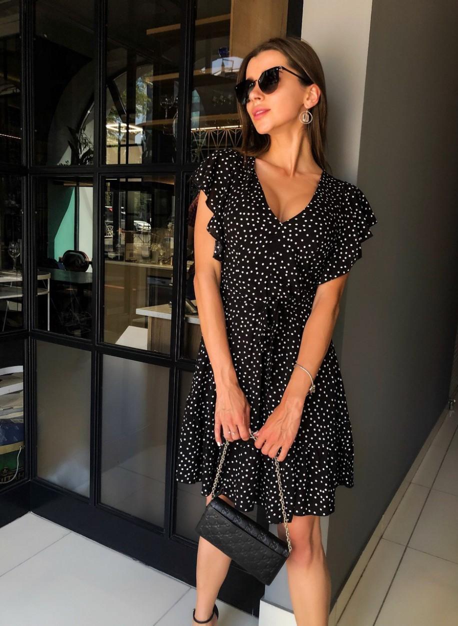Чёрное платье в горох Рита