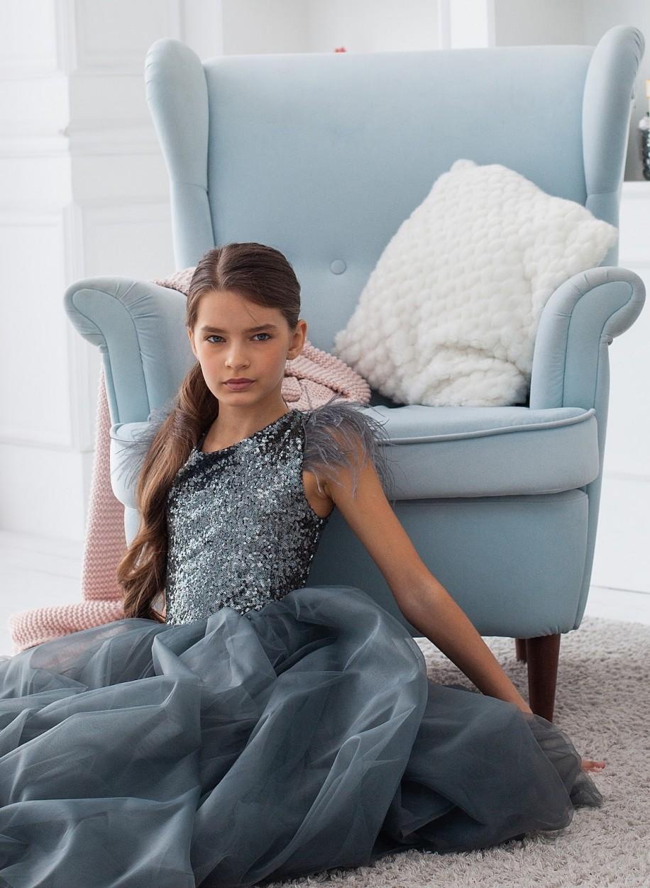 Детское платье Микки пайетка перья