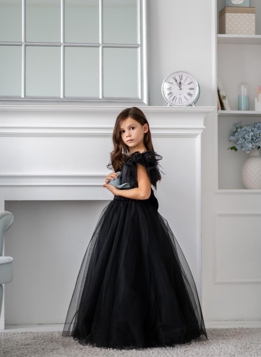 Детское платье Микки атлас бисер