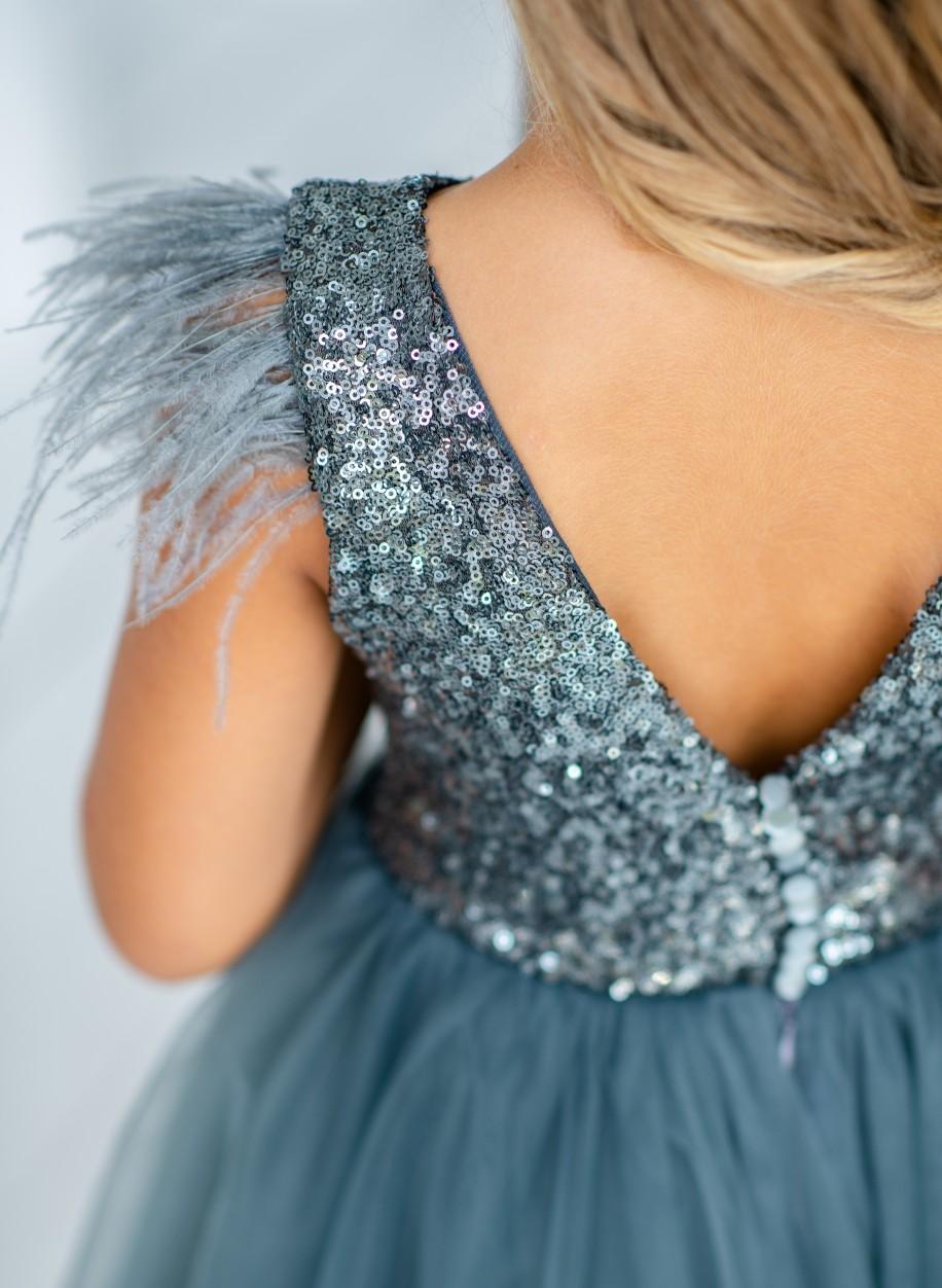 Детское платье Микки пайетка перья.