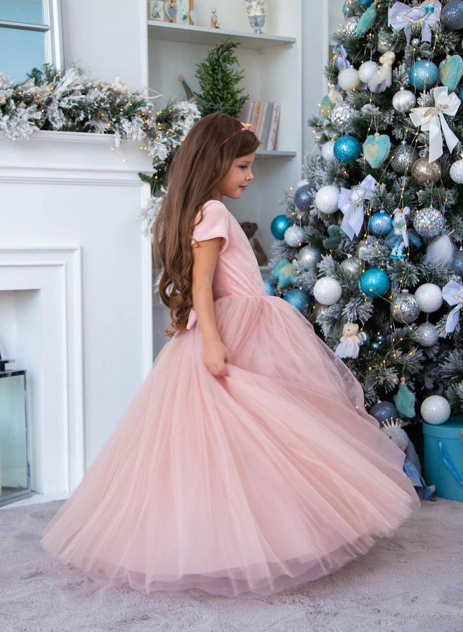 Детское платье Микки бархат закрытое рукавчик
