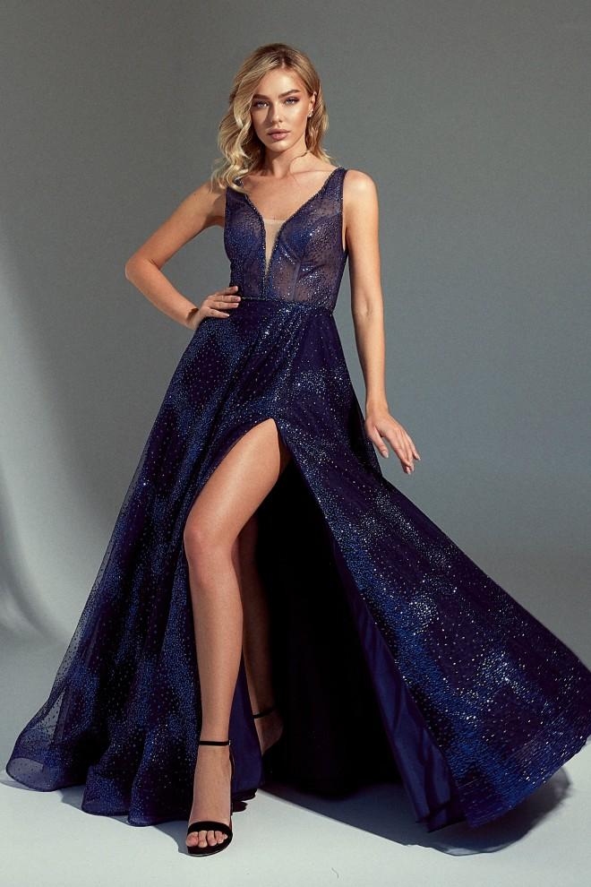 Синее вечернее платье La Novale 113