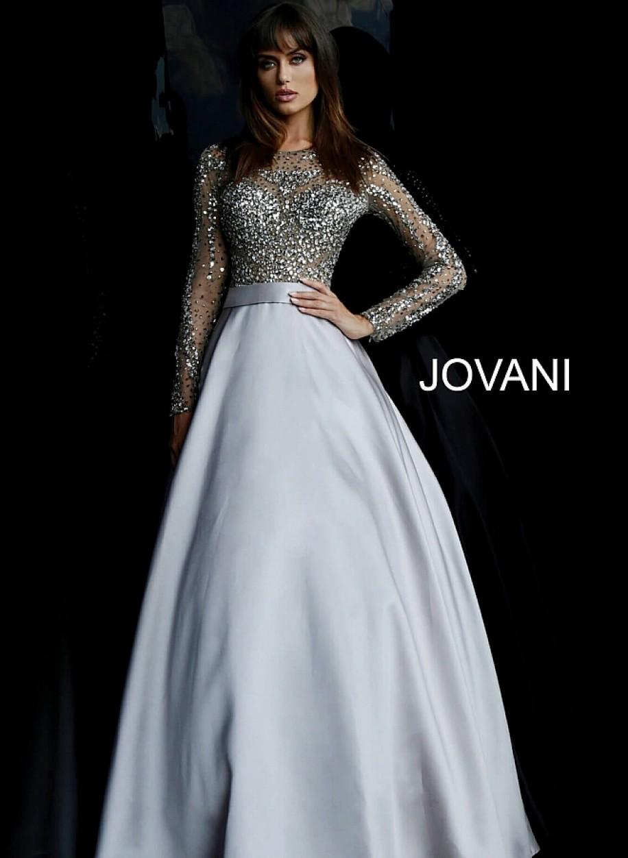 Закрытое вечернее платье с длинным рукавом Jovani 46066