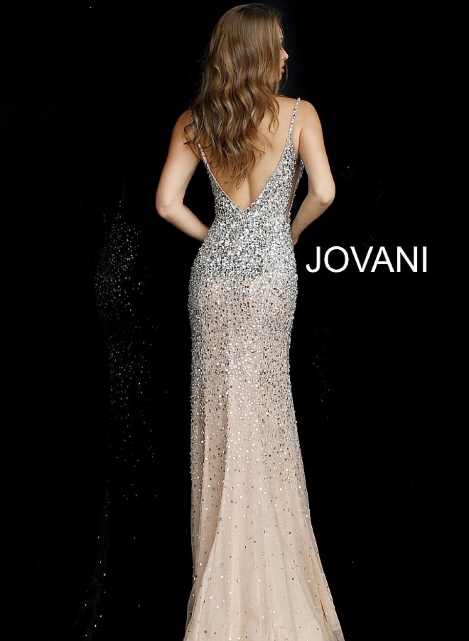 Открытое вечернее платье расшитое камнями Jovani 57932