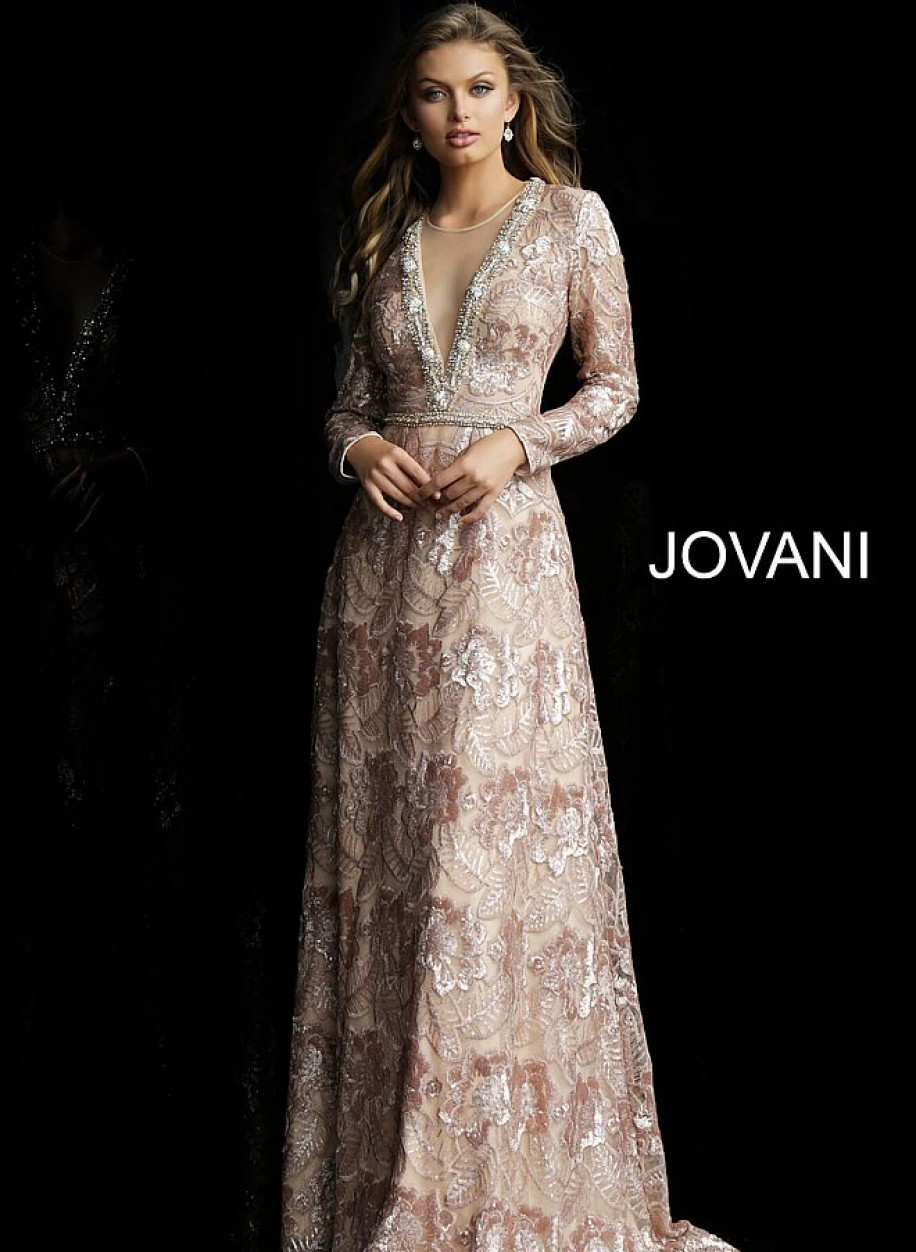 Нежное вечернее платье бежевого цвета Jovani 60133