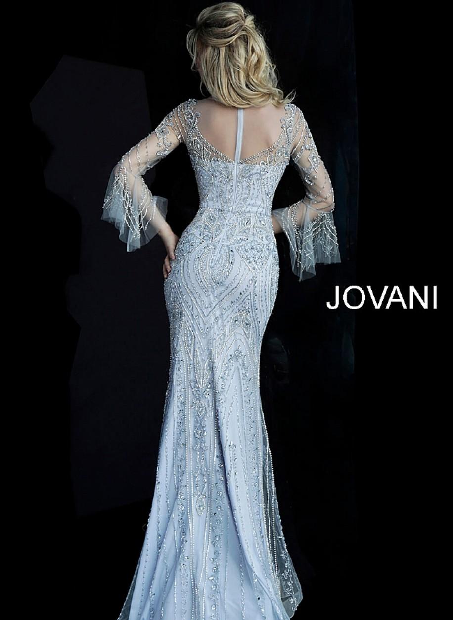 Закрытое вечерние платье небесного цвета Jovani 60827