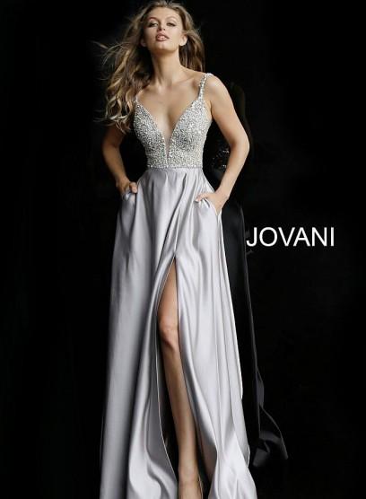Эффектное выпускное платье с вырезом по ноге Jovani 61556