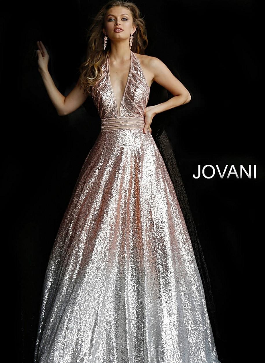 Блестящее вечернее платье с глубоким декольте Jovani 62297