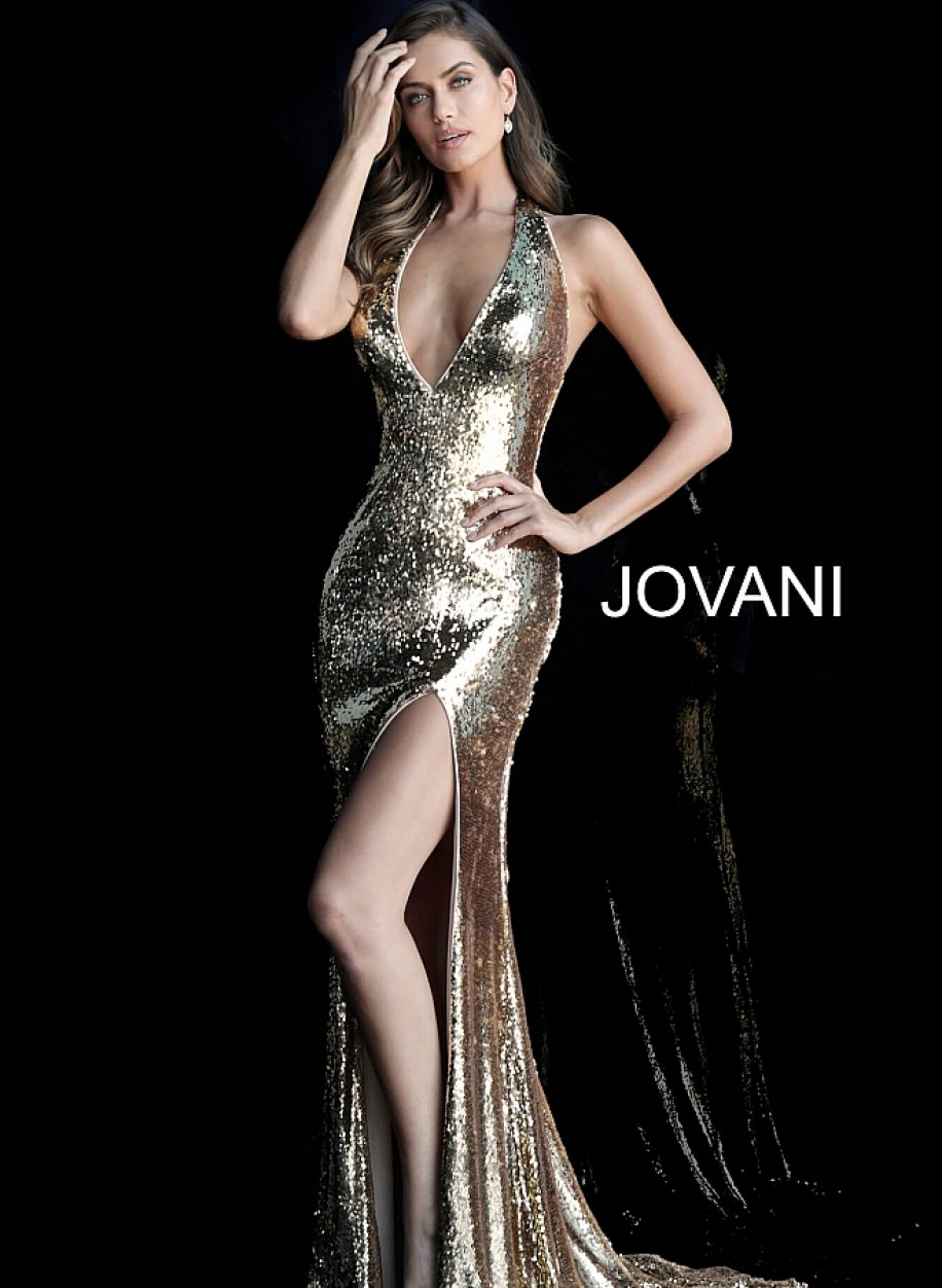 Золотое вечернее платье с вырезом по ноге Jovani 62360