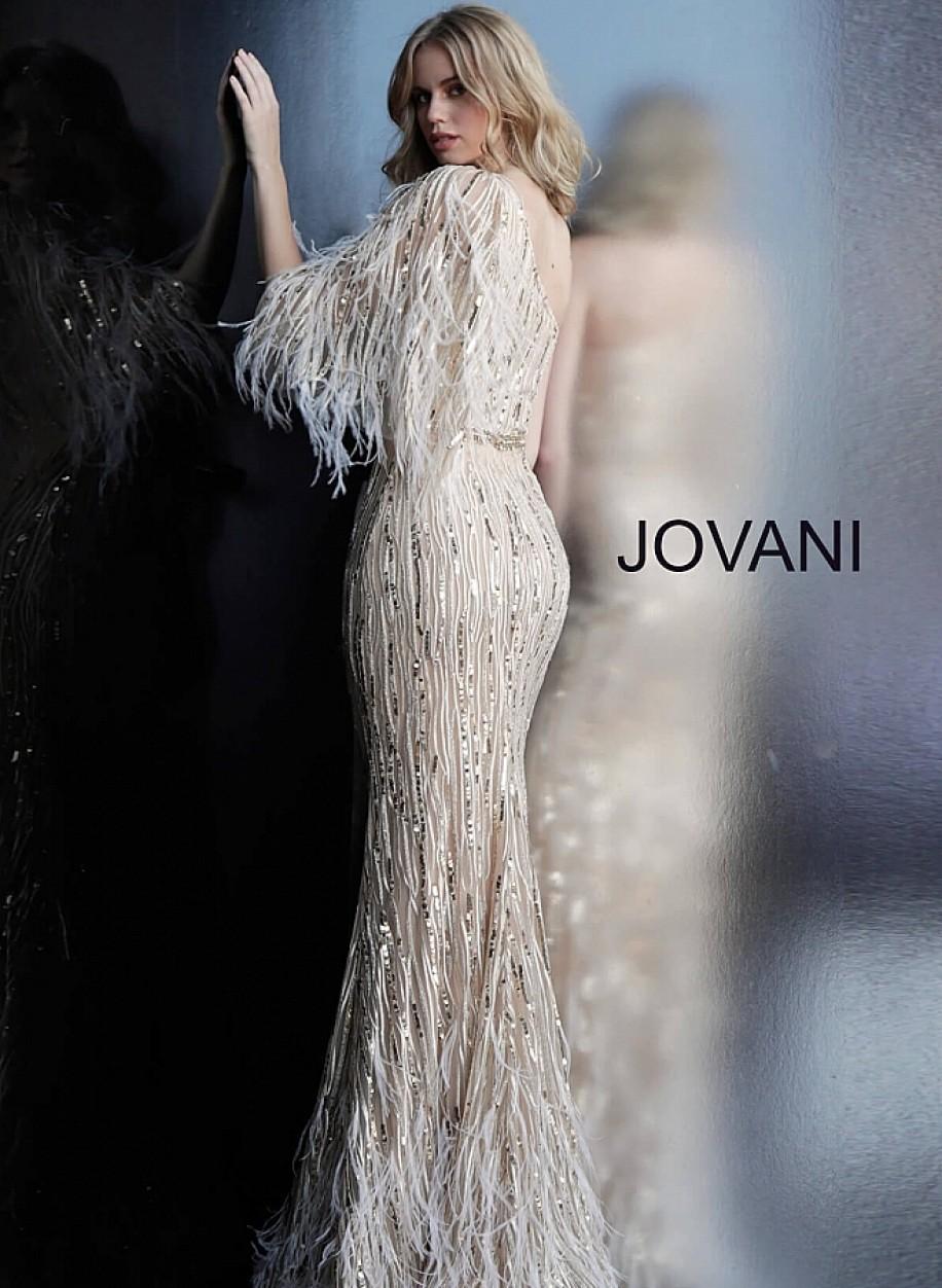 Шикарное вечерние платье на одно плече Jovani 63342