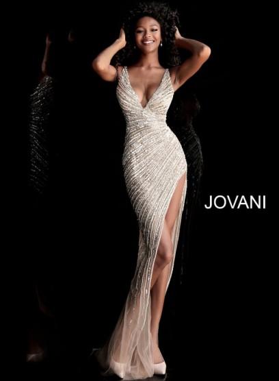 Длинное вечернее платье с открытой спиной Jovani 63405