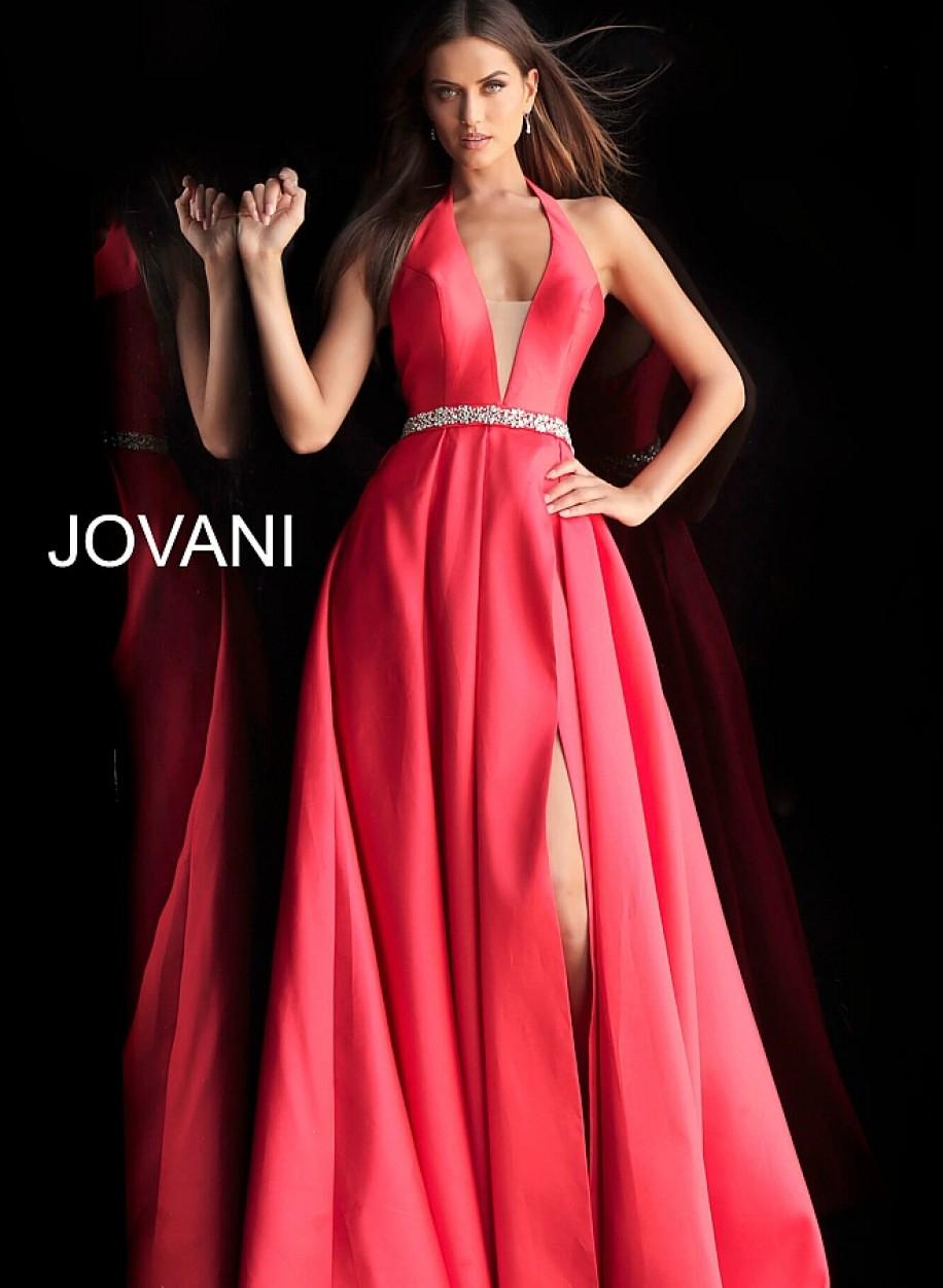 Красное выпускное платье с разрезом по ноге Jovani 63652