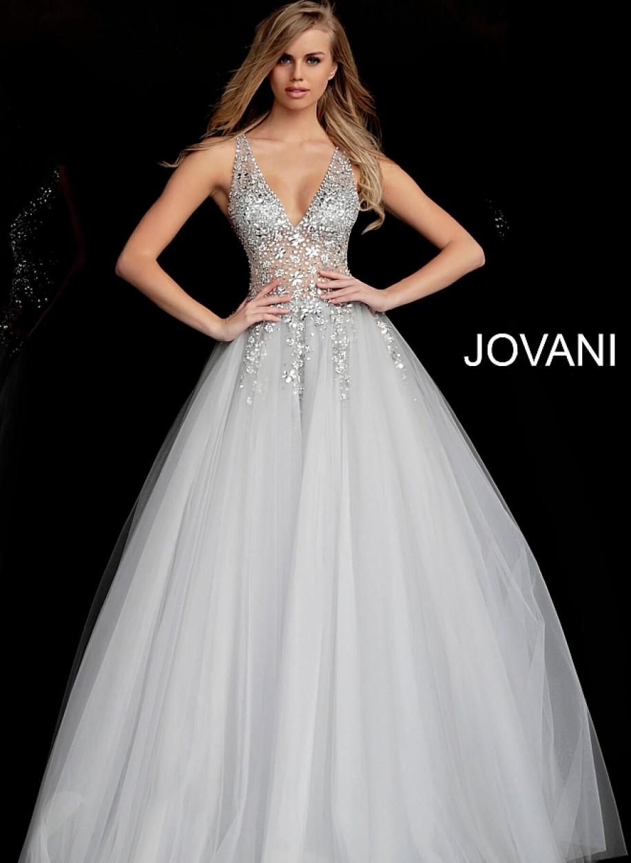 Пышное выпускное платье с открытой спиной  Jovani 65379