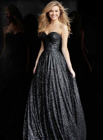 Черное выпускное платье с глитером Jovani 66930