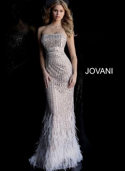 Открытое вечернее платье с перьями Jovani 67279
