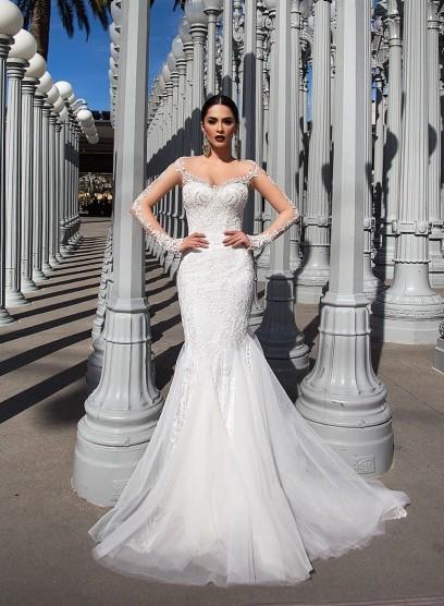 Свадебное платье Pollardi c двойной юбкой T3113