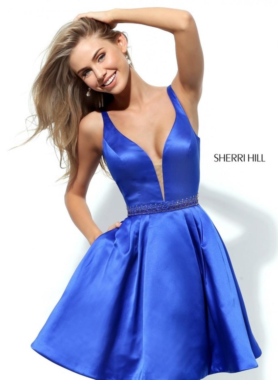 Коктейльное платье Sherri Hill синего цвета 50495